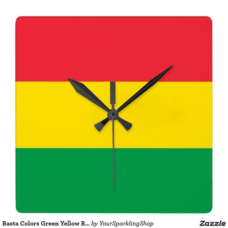 #Rasta Colors Green Yellow Red Stripes Flag Pattern Wall #Clock
