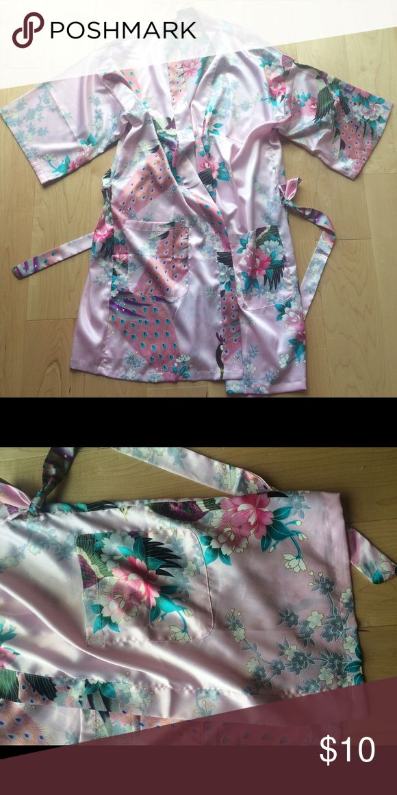 Pink Silk Floral Robe Great condition! Two front pockets. Waistband Tie. Perfect for lounging in before hopping into that evening outfit! :) Linzhixiu Intimates & Sleepwear Robes
