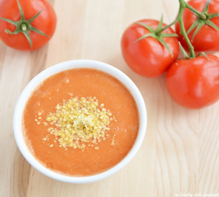 Tomato Soup with Vegan Parmesan Cheese