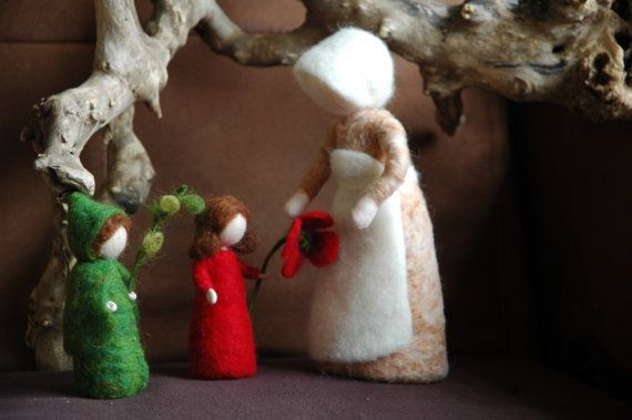 Waldorf inspired needle felted dolls: Mother Earth and Her Children (Sibyle Von Olfer's). Made to order