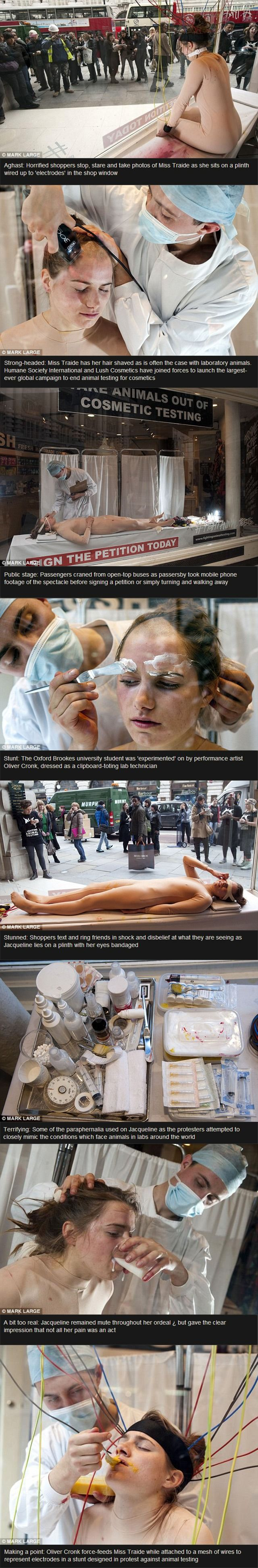 'Woman is subjected to 'animal tests' in front of horrified shoppers against animal testing for cosmetic products.' LUSH campaign. I have so much respect for this women. She's just effing amazing. STOP ANIMAL TESTING!