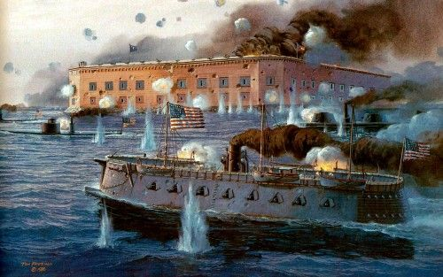Attack on Fort Sumter, April 7, 1863. Union ironclad USS ...