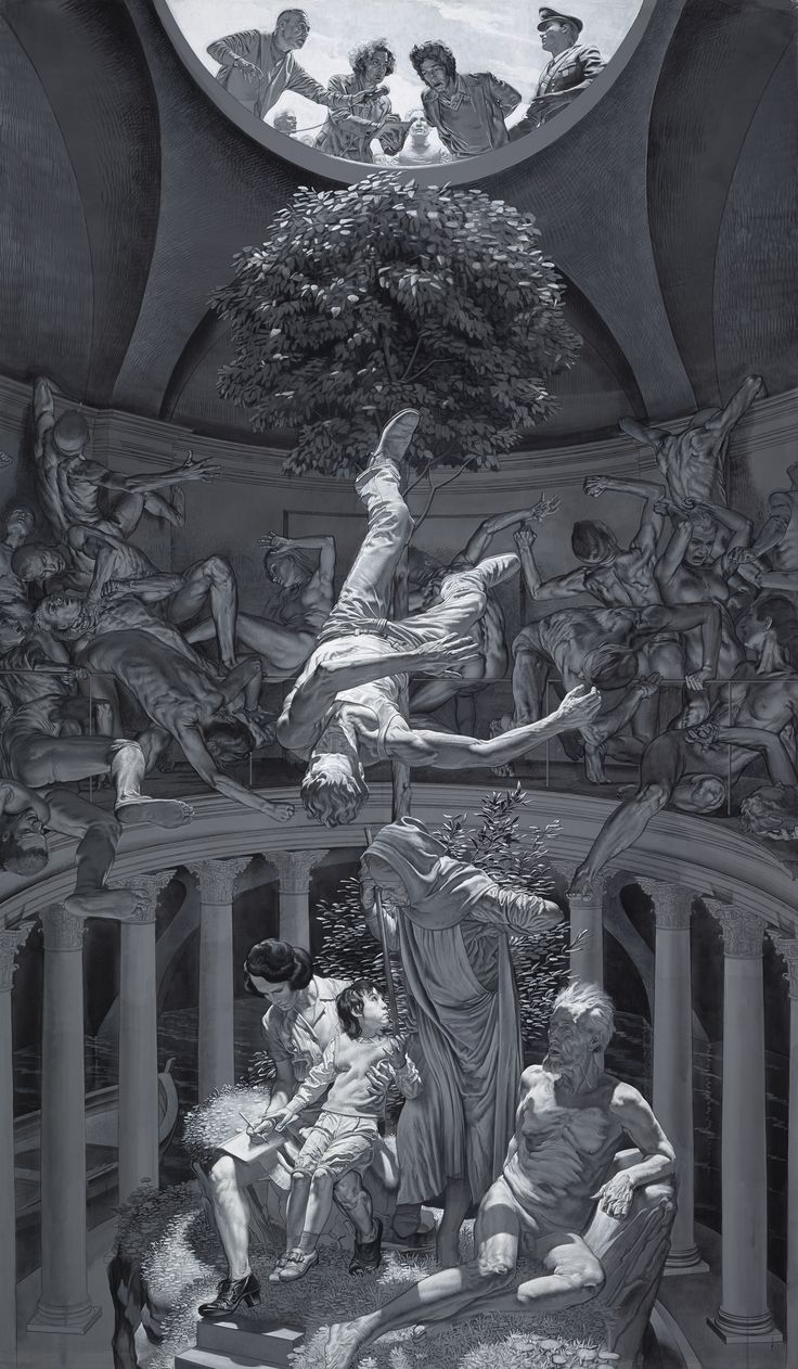 [Nicola Verlato] Hostia, 2015 - As if it were an altarpiece, the painting show the body of Pasolini crossing over from this life, passing through the hell of the world, moving back all the way to his childhood. The huge piece is executed according to the Renaissance altarpiece painting, while it leads through the story of Pasolini's life.