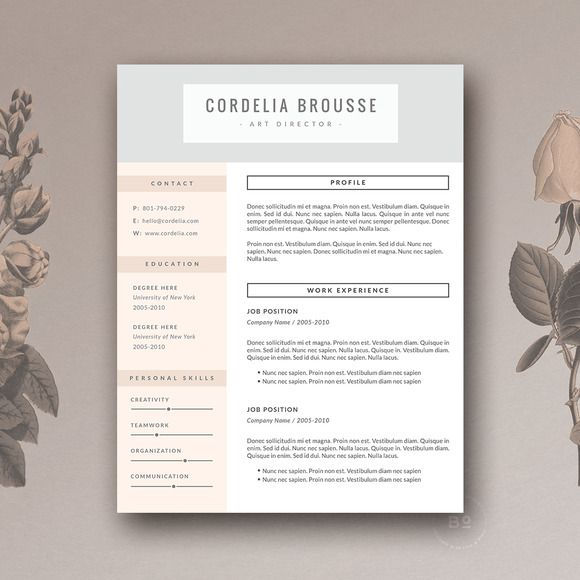 @newkoko2020 Resume Template & Cover Letter by Botanica Paperie on @creativemarket #feminine