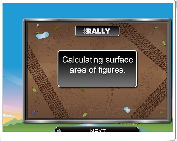 """""""Rally de cálculo de áreas de figuras planas"""" (Juego de Matemáticas de Primaria)"""