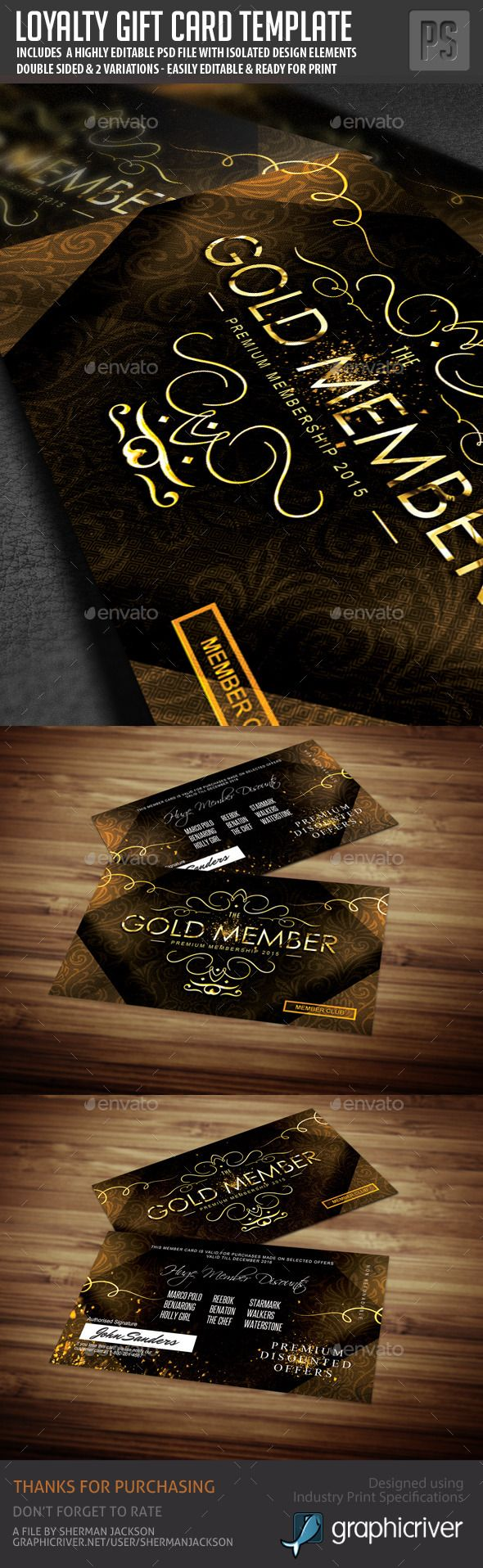 163 best voucher template design images on pinterest loyalty golden loyalty card template yelopaper Image collections