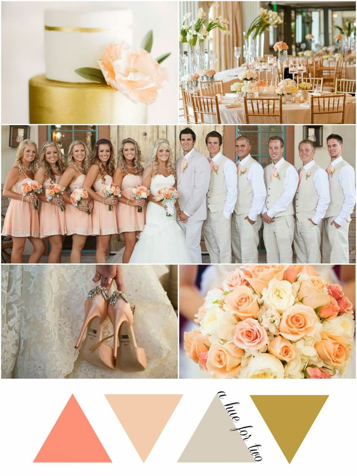 girly peach ivory and gold wedding colour scheme a hue for two