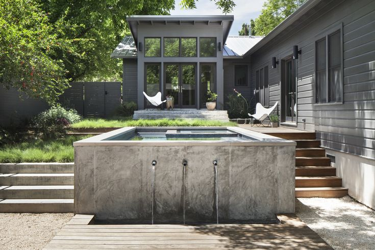 This project was designed for a creative couple and their two kids in Austin, Texas.  After previously renovating their main house, they hoped to repurpose their non-descript backyard to add a small pool and new structure for additional living/ entertaining space.