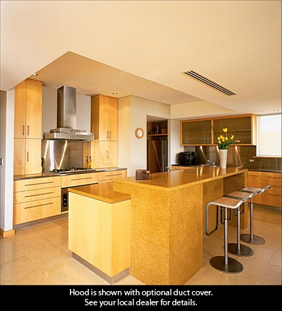 bright and sunny kitchen featuring cwlh9 wall mount range hood http