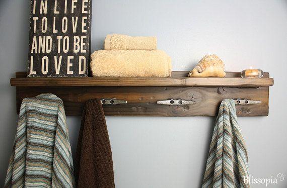 Rustic Bath Shelf With Boat Cleat Towel Hooks