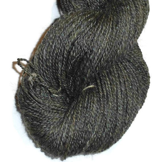 Soft Handspun 2 Ply Glitter Yarn Woodstock Shetland Wool Black Diamond Bamboo and Rainbow Dyed Super Bright Trilobal Nylon