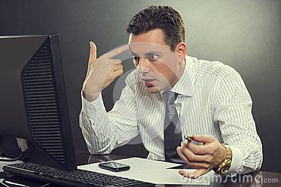 Desperate Businessman Pointing His Finger To His Head - Download From Over 24 Million High Quality Stock Photos, Images, Vectors. Sign up for FREE today. Image: 41576587