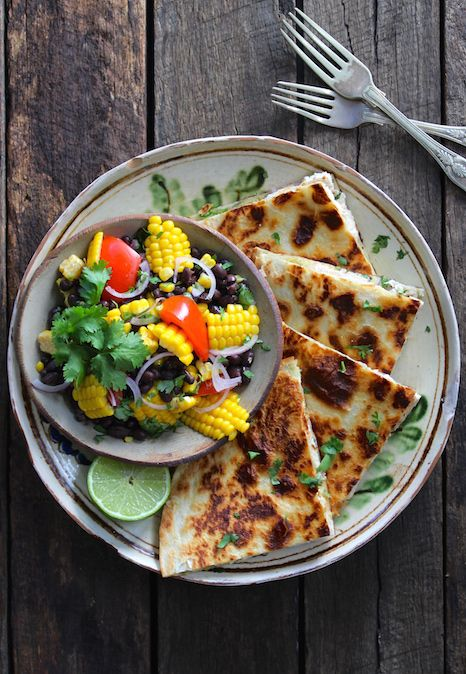 FREE RANGE CHICKEN QUESIDILLAS WITH CORN &  BLACK BEAN SALSA. Liven up the dinner table with this classic Mexican street dish. Super easy to make. Perfect for sharing.  30 Minutes. A healthy alternative to a takeaway for all.
