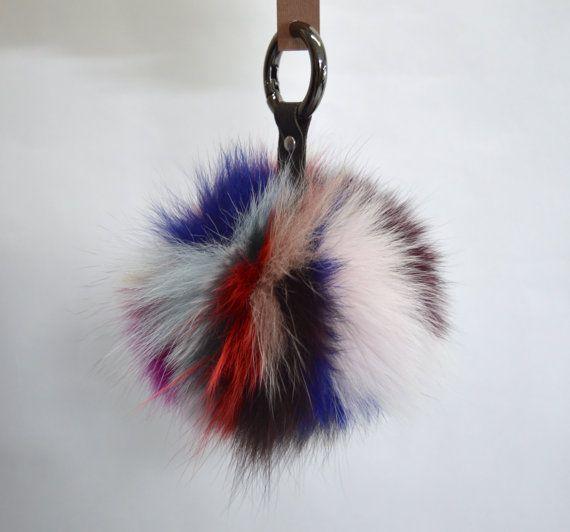 Real fur fox Pom Pom fur fox ball keychain multicolour by BeFur