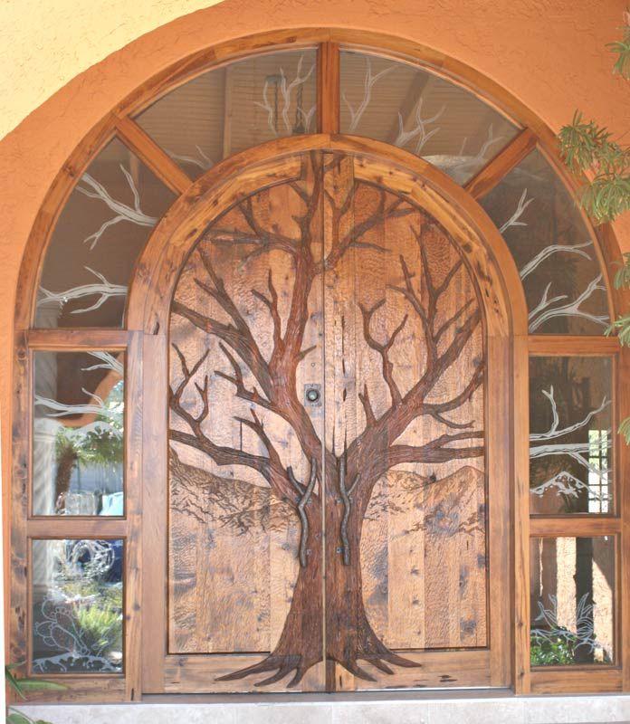 hand-carved oak door