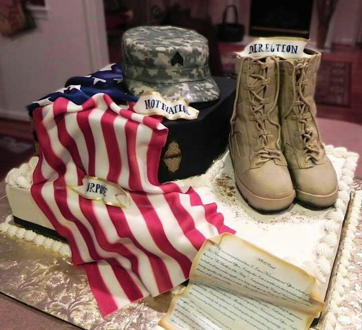 Janet Brown is an award-winning cake artist. Her husband has been in the Army for 19 years. This is one of the most amazing cakes we have seen. Can you imagine that what you're looking at is all edible ! Some people just are so amazingly talented ! We love how this flag drapes over the cake...Is that fondant ? Anyone want to take a guess? We are hoping the boots are made of chocolate cake...we would like a nice big slice of combat boots, thank you!  http://www.janetscakes.com/