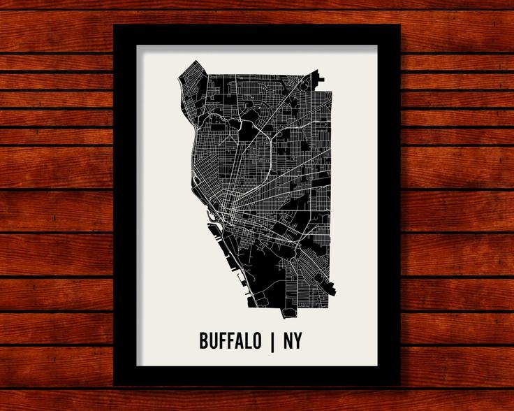 Buffalo Map Art City Print 18 x 24 by MrCityPrinting on Etsy, $28.00