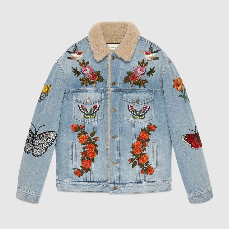 Gucci Men - Embroidered denim jacket with shearling                                                                                                                                                                                 More