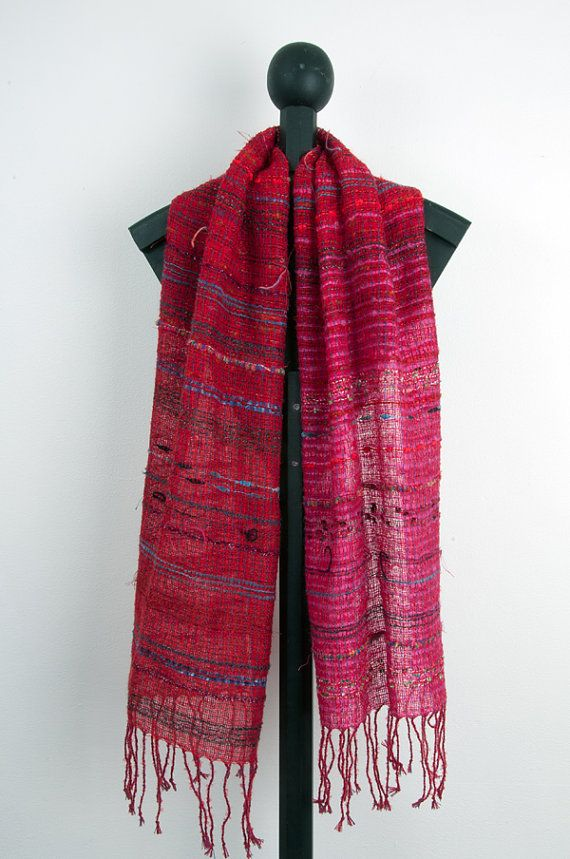 Hand+woven+scarf+in+Red+0008+by+Timeja+on+Etsy,+$85.00