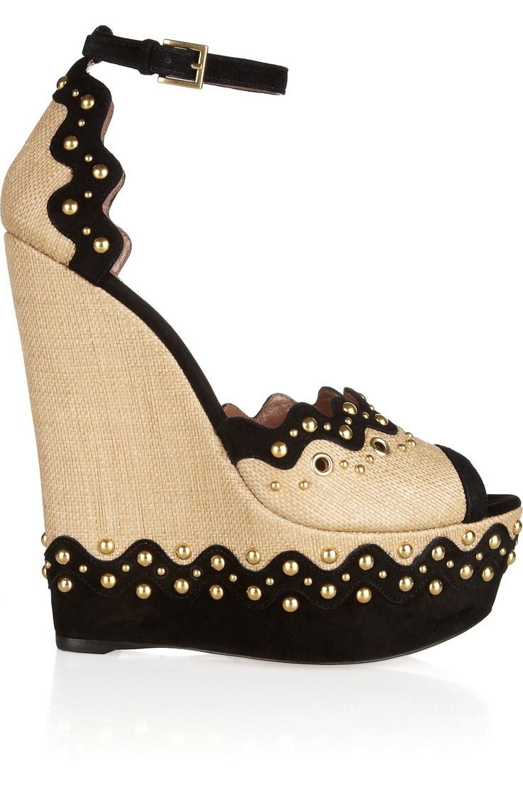 .We ❤ this at http://www.grenlist.com: Glamour Embellished, Fabulous Shoes, Embellished Raffia, Clothes, Wedge Sandals, Style Fashion Shoes, Wedges