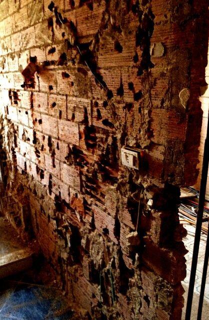 brick ruined wall