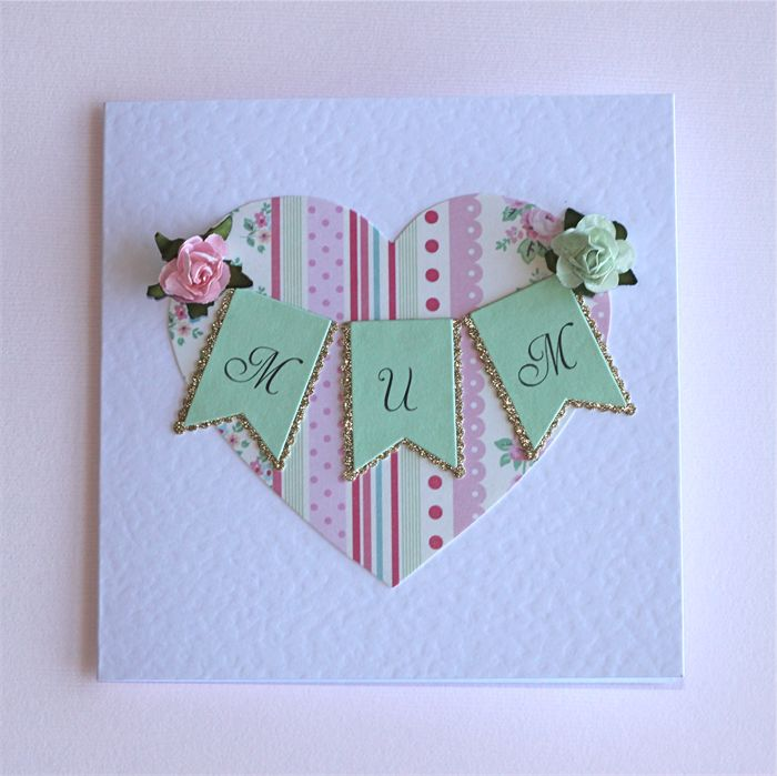 Handmade Card for Mum - Mother's Day or Birthday - Heart, Banner, paper flowers | Little Paper Stand | madeit.com.au