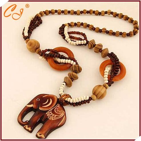 New travel accessories exotic boximiya ethnic wooden wooden elephant sweater chain necklace restoring ancient ways