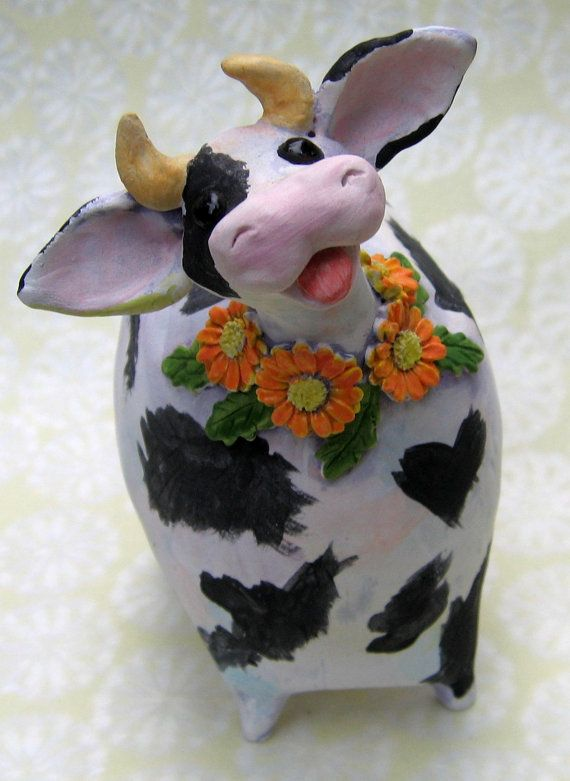 Black and white cow sculpture holstein ceramic by KarenFincannon,