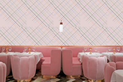 Mismatched lines on pastel pink wallpaper surface pattern design // The Style Paper