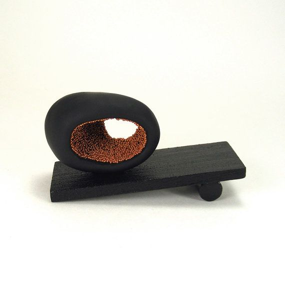 SCULPTURE  Black and Copper Abstract Oval Sculpture  by mkwATELIER, $30.00
