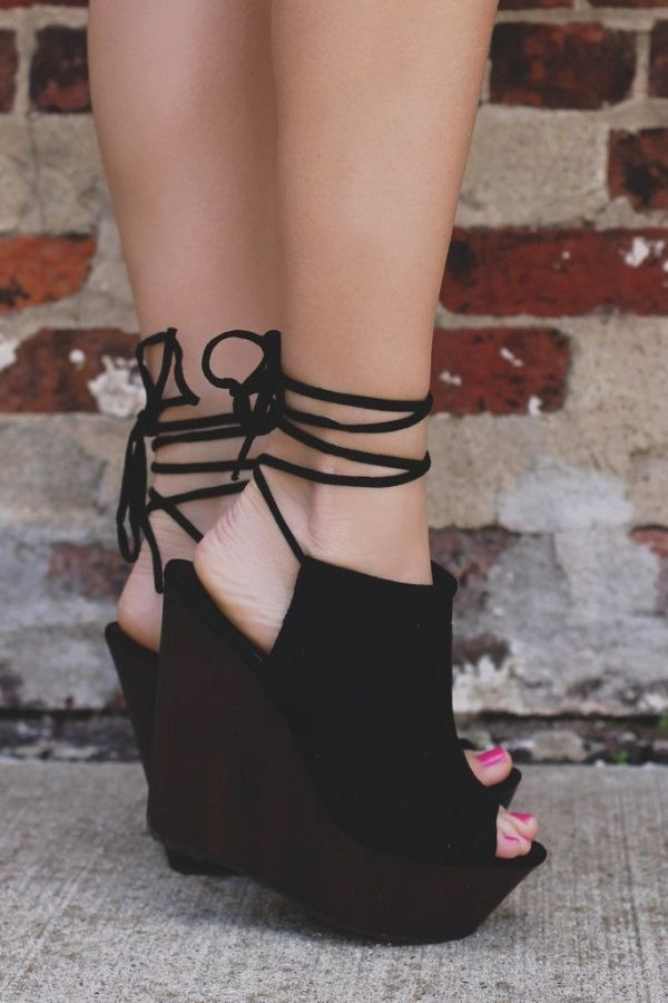 Lace Up Ankle Wooden Platform Wedge | wedges heels | | wedges | | wedges  shoes