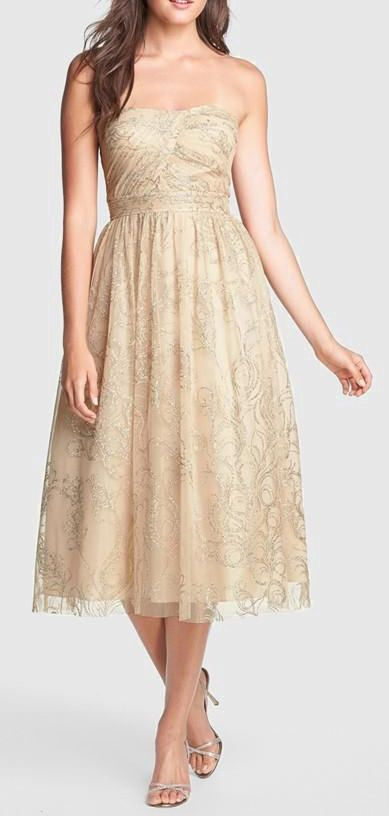 Strapless Beige Gold Dress - perfect for a more casual summer wedding!