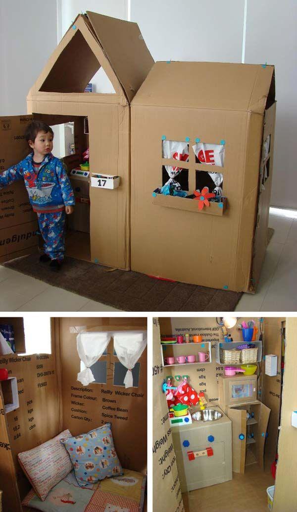 Самая прелесть в картонных коробках – то, что ими можно сделать счастливым почти любого ребенка. А с определенного возраста достаточно ему выдать коробку, ножницы и скотч и показать одну из фотоидей ниже, и он все сделает сам. Ну, или часа на три затихнет, сосредоточившись на своих попытках.Итак, что же можно сделать