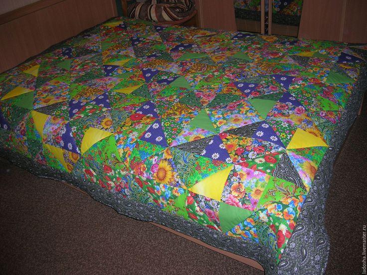 Купить лоскутное покрывало Новая Зеландия 2 - зеленый, лоскуты, из лоскутов, лоскутное одеяло