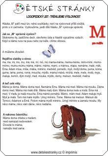 Logopedický list - M - rodiče