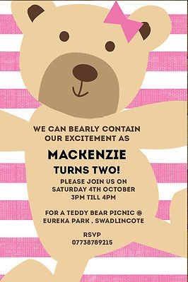#Personalised pink girl teddy bears picnic birthday #party invites inc #envelopes, View more on the LINK: http://www.zeppy.io/product/gb/2/191583963596/