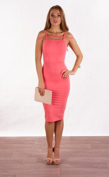 GEOMETRIC STRAP DETAIL MIDI BODYCON