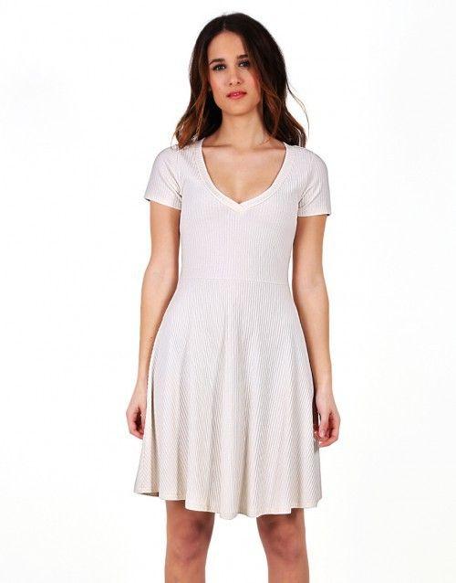 Εκρού ριπ κλος φόρεμα με V λαιμουδιά - Εκρού