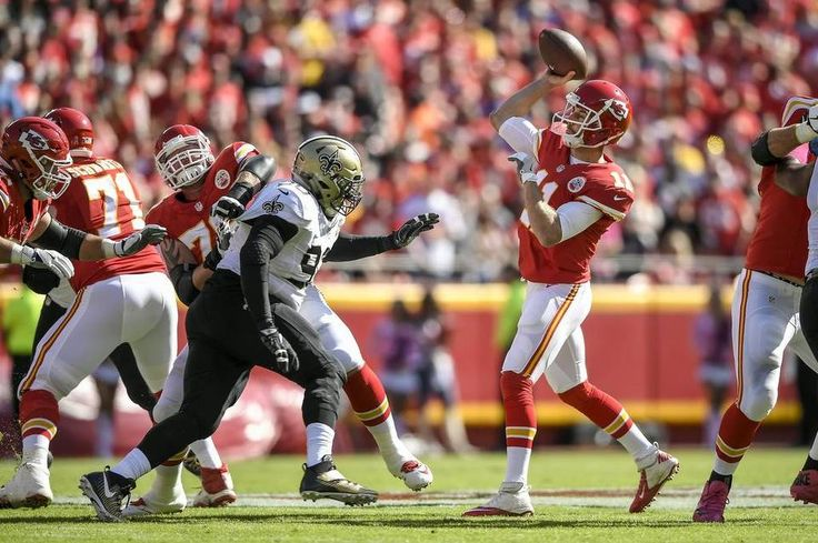 Saints vs. Chiefs  -  27-21, Chiefs  -  October 23, 2016:   Kansas City Chiefs quarterback Alex Smith (11) passed during the first quarter against the New Orleans Saints at Arrowhead Stadium in Kansas City, Mo. on October 23, 2016. The Chiefs won, 27-21.