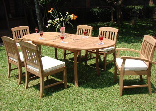 Samurai Grade A Teak 7 Pc Dining Oval Table 6 Chairs Set Outdoor Patio New