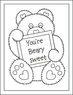 Valentine coloring cards free