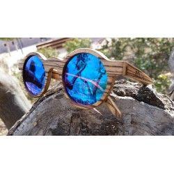 Móler Soho madera de zebrano con lentes espejadas azules.    Soho model zebrawood. Lenses blue mirror.  www.moler.es