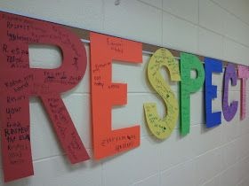They took turns writing their examples on the letters of RESPECT, correlating the first letter of their example with a chosen letter of RESPECT.  For example, 'raise your hand' was written on the letter 'R.'  'Exercise' shows respect for ourselves and was written on the letter 'E.'  Third graders waited patiently while their classmates wrote down their examples, thus showing respect to others :)