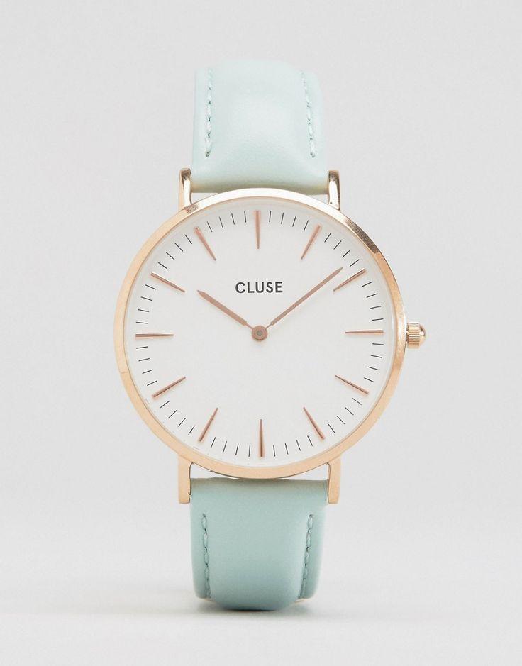 Image 1 - Cluse - La Bohème CL18021 - Montre en cuir - Or rose et vert menthe