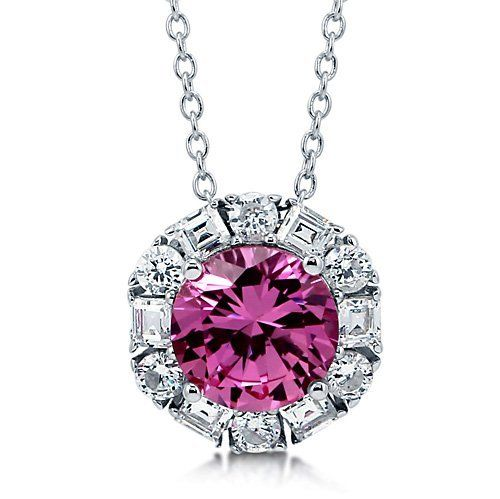 Round Pink Cubic Zirconia Sterling Silver Solitaire Pendant Necklace - Nickel Free BERRICLE. $52.99. Gender : Women. Stone Total Weight (ct.tw) : 3.33. Nickel Free and Hypoallergenic. Metal : Stamped 925. Stone Type : Cubic Zirconia. Save 60%!