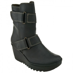 SALE - Womens Fly London Yaki Ankle Boots Black Leather - Was $240.00 - SAVE $65.00. BUY Now - ONLY $175.20