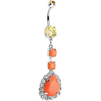 Orange Neon Gem Teardrop Dangle Belly Ring #piercing #bellyring #bodycandy #neon