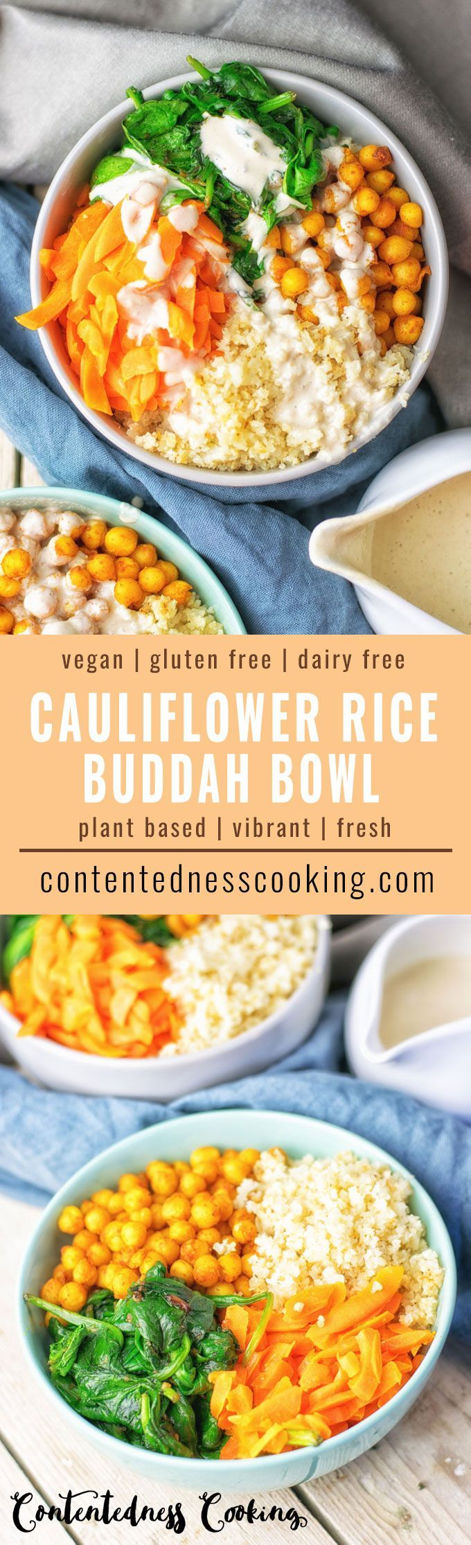 My new Cauliflower Rice Buddha Bowl is similar to traditional Buddha bowls but with a low carb twist. And it's vegan and gluten free, too, made from just 6 ingredients. It comes with great flavor of Tandoori chickpeas, combined with fresh vegetables, and my amazing Roasted Garlic Tahini Sauce. I promise, it's the most delicious plant based meal in a bowl.