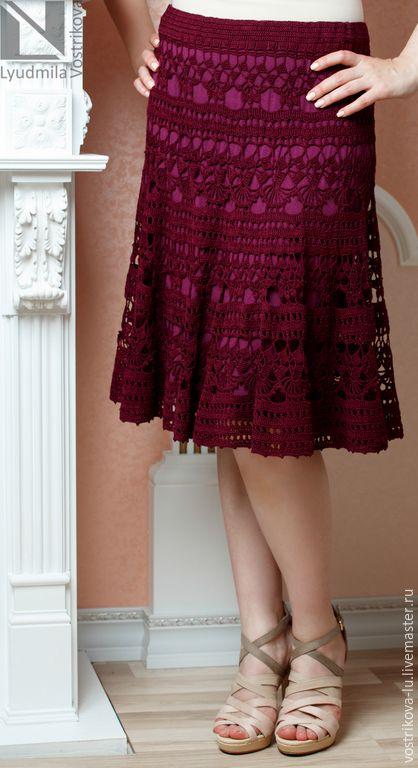 """Купить Вязаная юбка крючком """"Лилия Ландини"""" - бордовый, однотонный, юбка, юбка летняя"""