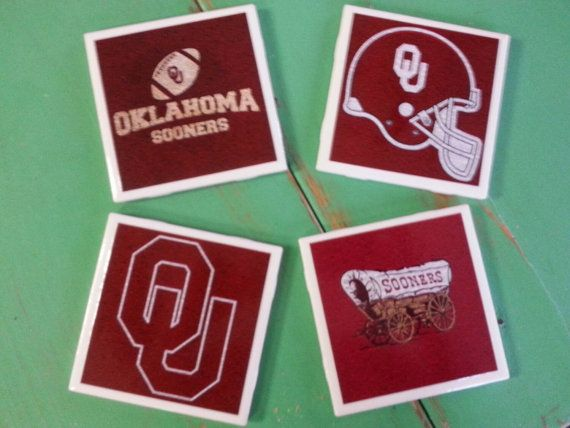Check out this item in my Etsy shop https://www.etsy.com/listing/241138489/oklahoma-sooners-ceramic-coasters-set-of